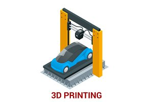 New generation of 3D Printing Machine printing car. Vector isometric illustration