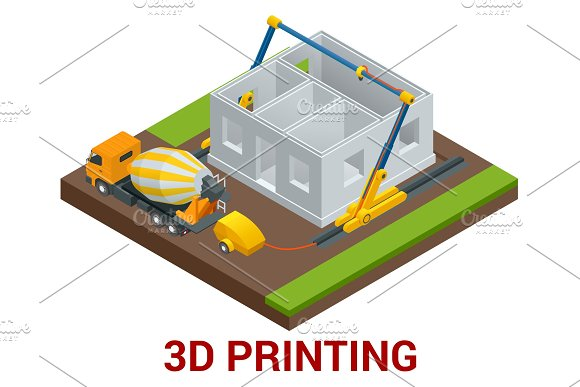 Vector Isometric 3D Printing House Concept Concrete Mixer Truck In The Side Of Industrial 3D Printer Which Printing House Flat Illustration