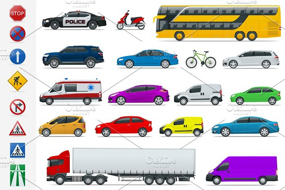 Flat High-quality City Transport Cars And Road Signs Icon Set Side View Sedan Van Cargo Truck Off-road Bus Scooter Motorbike Urban Public Freight Transport For Infographics And Design