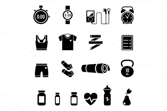 Fitness And Sport Vector Icons For Web And Mobile