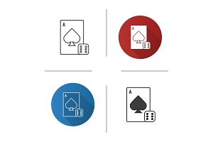 Dice and playing card icon