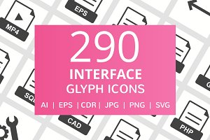 290 Interface Glyph Icons