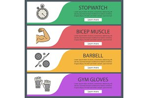 Fitness web banner templates set