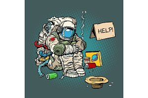 Crowdfunding concept. A poor homeless astronaut asks for money