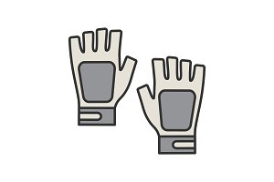 Fingerless gym gloves color icon