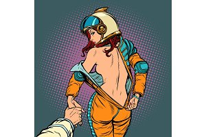 follow me undresses astronaut woman, couple love and sexy