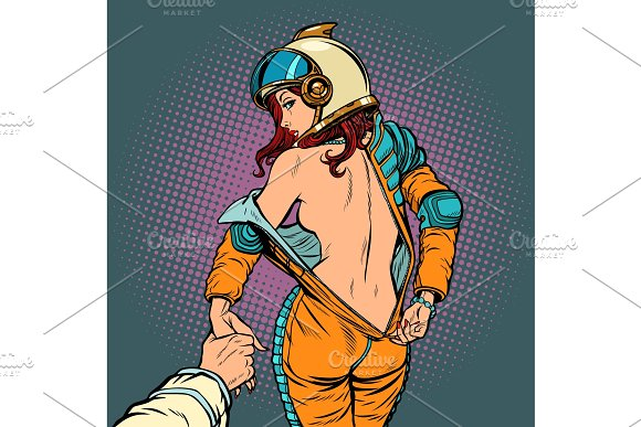 Follow Me Undresses Astronaut Woman Couple Love And Sexy