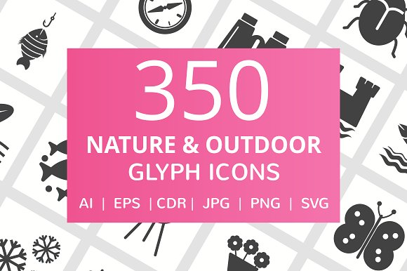 350 Nature Outdoor Glyph Icons