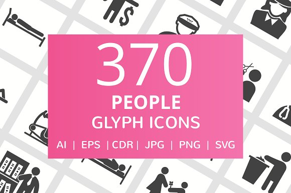 370 People Glyph Icons