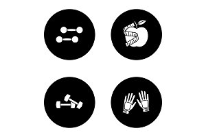 Fitness glyph icons set
