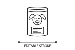 Canned dog food linear icon