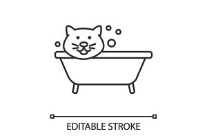 Bathing cat linear icon