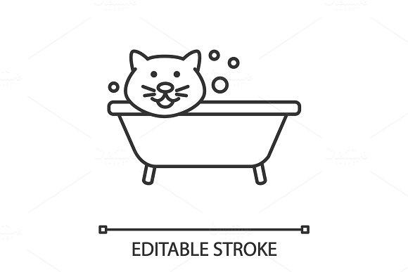Bathing Cat Linear Icon