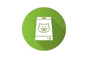 Pet nutrition flat design long shadow glyph icon