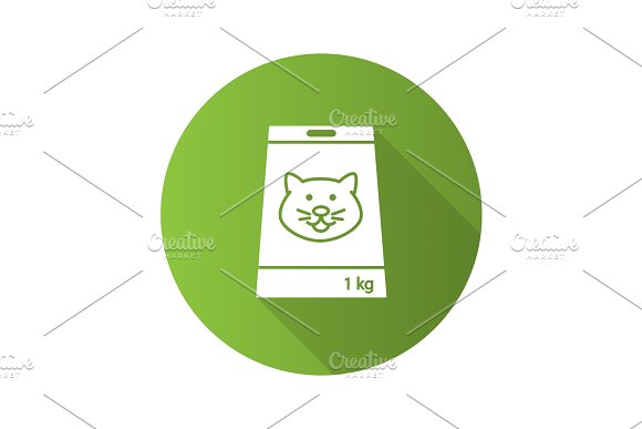 Pet Nutrition Flat Design Long Shadow Glyph Icon