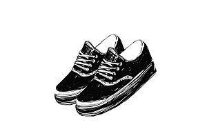 Hand drawn vector illustration with a pair of sneakers. Run Concept. Sketch.