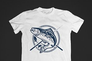 Retro trout fishing logos