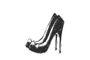 Hand drawn illustration woman shoe sketch icon. Heels