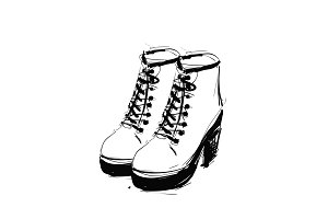 Shoes on the platform. Heels springs boots. Sketch