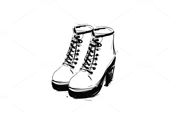 Shoes On The Platform Heels Springs Boots Sketch