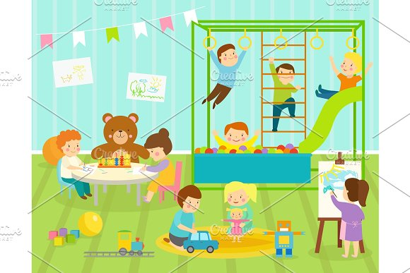 Boy Kids Vector Kindergarten Room With Big Slide Swing With Light Furniture Decor Young Baby Kids Playground Toys Robot Train Balls Playroom Apartment Decorating
