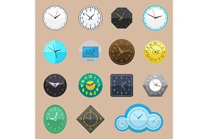 Clock vector watch different clockwork and clockface or wristwatches clocked in time with hour or minute arrows illustration clocking alarm timer set isolated on white background