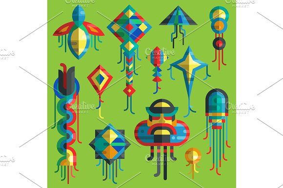 Flying Vector Kite Toy Sky Snake Serpent Dragon Kids Toy Colorful Silhouette Collection Isolated Outdoor Summer Activity Illustration Holiday Childhood Entertainment Fly Game Kid Snake Design