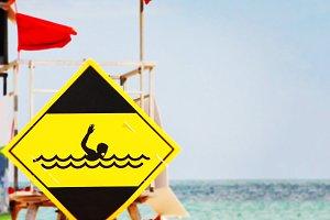 danger swimming signal