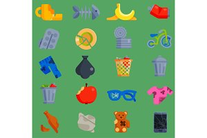 Vector set of waste garbage icons for recycling container reuse separation household waste garbage household waste garbage icons garbage broken trash rubbish recycling ecology environment