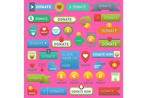 Vector donate buttons help human hand money set in web style. Donation gift buttons charity, isolated web donate design sign contribute. Money giving symbol donate web heart elements set