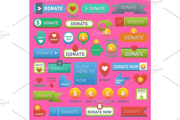 Vector Donate Buttons Help Human Hand Money Set In Web Style Donation Gift Buttons Charity Isolated Web Donate Design Sign Contribute Money Giving Symbol Donate Web Heart Elements Set