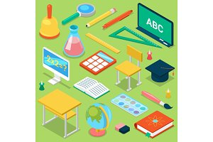 School supplies vector education schooling accessory for schoolchilds educational stationery for studying in classroom isometric illustration set of isolated on background