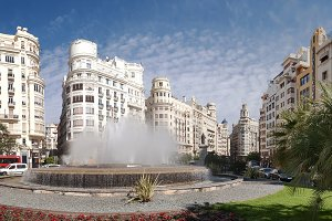 Town square in Valencia, Spain