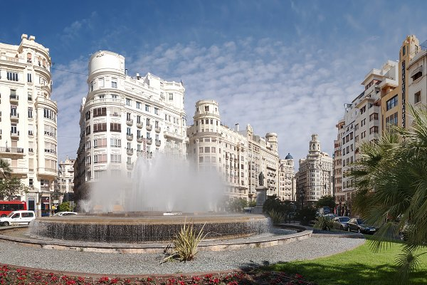 Town square in Valencia, Spain