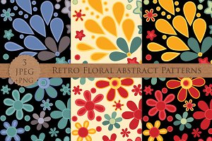 RETRO FLORAL abstract pattern set