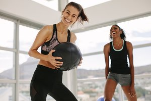 Girls working out in fitness studio
