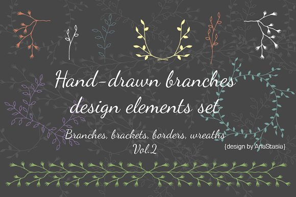 Hand-drawn branches set2