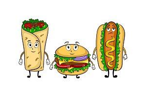 Fast food bus cartoon pop art vector illustration