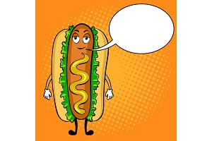 Hot dog cartoon pop art vector illustration
