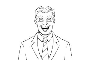 Businessman with clock in eyes coloring vector