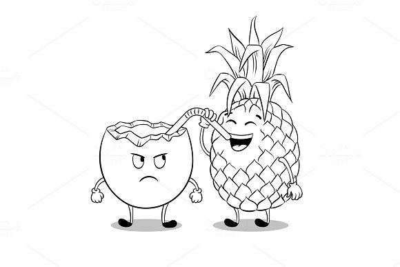 Pineapple Drink Coconut Coloring Book Vector