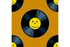 Vinyl record with yellow smile seamless vector