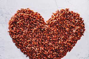 Valentine heart made of goji berries