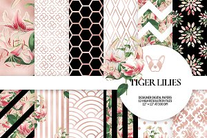 Rose Gold Floral Digital Paper Pack