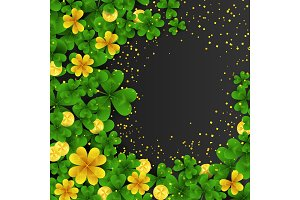 Saint Patrick s Day frame with green and gold four and three Leaf clovers,golden coins on black background. Party invitation template. Lucky,success and money symbols vector illustration.