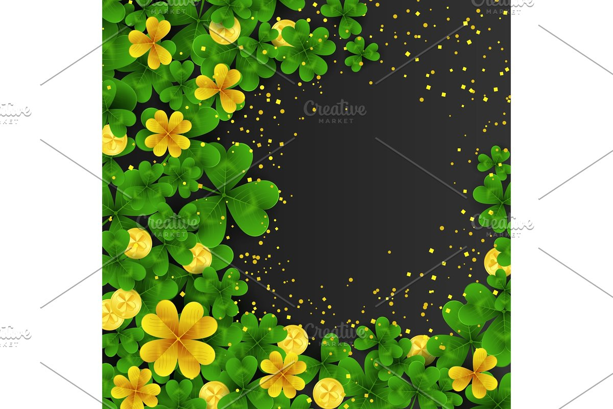 Saint Patrick S Day Frame With Green And Gold Four Three Leaf Cloversgolden Coins On Black Background Party Invitation Template Luckysuccess