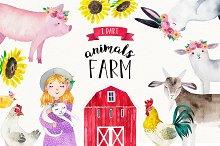 FARM ANIMALS watercolor set PART 1