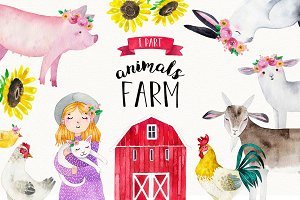 FARM ANIMALS watercolor set PART 1