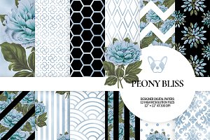 Sky Blue Floral Digital Paper Pack