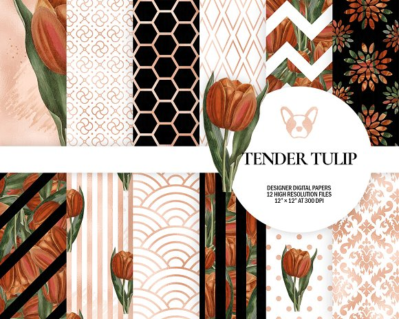 Orange Red Floral Digital Paper Pack